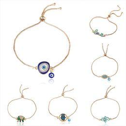 Nuevo pavo azul pulseras de mal de ojo para mujeres hombres buena suerte Hamsa mano elefante carta de amor encanto cadenas ajustables brazalete joyería de moda desde fabricantes