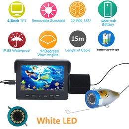Luces de video bajo el agua online-PDDHKK Kit de cámara de video de pesca 12 PCS LED Luces blancas Océano / Hielo / Lago Visual Fishing Finder 4.3inch 1000tvl Underwater