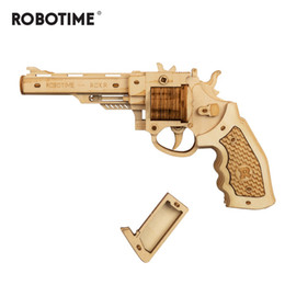 jogos de adultos de madeira Desconto Robotime 102pcs DIY 3D Revolver with Rubber Band Bullet Wooden Gun Puzzle Game Popular Toy Gift for Children Adult LQ401 Y200317