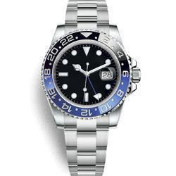 Herren krone uhr online-GTM Master Ceramic Bezel Herrenuhren Glide Lock Clasp Strap Automatisch Blau Schwarz Uhr Sport Crown Watch Armbanduhr Orologio Reloj Montre