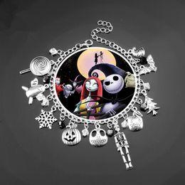 2019 goth armbänder Halloween Goth Schädel Kürbis Charm Armband Albtraum vor Weihnachten Jack Skellington Sally Bangle Armband DIY Weihnachten Armband Geschenk günstig goth armbänder