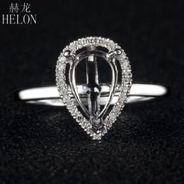 joyería sólida 14k Rebajas HELON 5x8mm Corte de pera Semi Anillo de montaje Sólido 14 K Oro blanco SI / H Diamantes naturales Anillo de compromiso para las mujeres Joyería de moda