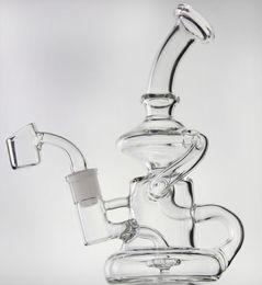 """2019 adaptateur déroulant de 14,5 mm 8"""" verre recycleur bong en verre Elvis Klein avec pétard de quartz ou de grande plate-forme pétrolière de bol conduite d'eau dab hookahs 14.5mm joint"""