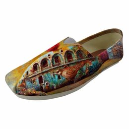 female lazy shoes Coupons - New Style 2019 Women Fashion Flats Shoes Ladies Loafers Leisure Comfortable Light Female Lazy Sip On Painting Color Print Of Art