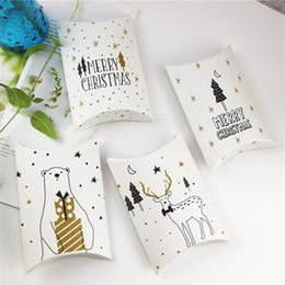 recycled decor Promo Codes - Merry Christmas Candy Gift Boxes Deer&Xmas Tree Guests Packaging Boxes Gift Bag Christmas Party Favors Kids Gift Decor Pillow