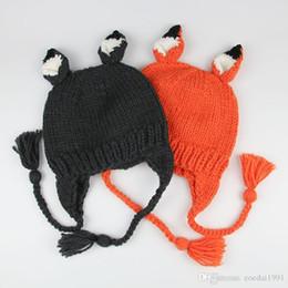 Cappello di volpe appena nato online-Baby Bonnet Neonato Fotografia Puntelli Cartoon Fox Baby Hat Fotografia Baby Crochet Accessori fatti a mano Kids Hat