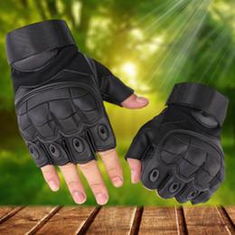 Equipo de tiro online-Deportes al aire libre Guantes tácticos Disparos Medio dedo guantes Paintball Carbon Hunting Hard Knuckle Gloves Equipo táctico ZZA550