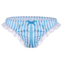 Abbastanza lingerie online-Slip intimo da uomo sexy Raso morbido in pizzo con volant Bikini Nuoto Costumi da bagno Vita bassa Gay Costumi da bagno Pugili Mutandine graziose