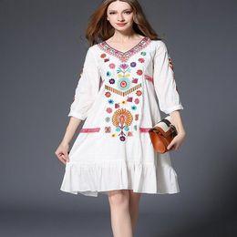 2019 фотографии колена высокие платья 3XL Реальное фото Высокого качества национальная вышивка корейское платье длиной до колен Vestidos femininos мода симпатичное платье рубашка дешево фотографии колена высокие платья