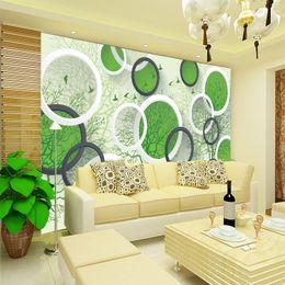 Papéis de parede verdes simples on-line-Personalizado grande mural papel de parede sala de estar TV sofá papel de parede de vídeo simples olho verde-proteger as árvores frescas 3d círculo sólido