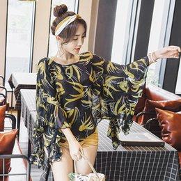Maiô encobrir saias on-line-Três Peças Tampa Da Barriga Fina Quente Primavera Maiô Push Up Plus Size Cintura Alta Grande Saia Senhora Swimwear
