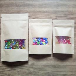 Горячая 7 видов размер коричневый молния крафт-бумажный мешок с окном подарочная упаковка ziplock мешок еды конфеты шоколад чай орехи кофе мешки от