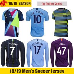 18 19 Man City Camiseta de fútbol STERLING 2018 2019 DE BRUYNE Manchester City KUN AGUERO Camiseta de fútbol SILVA FODEN Camiseta de fútbol Man City Larga Camiseta desde fabricantes