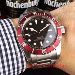 Sólido vermelho on-line-Tudorrr Aço Inoxidável Automático Mecânico Red Bezel Preto ROTOR MONTRES Fecho Sólido relógio de luxo mens designer Relógios relógios de pulso