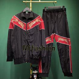 2019 survêtement léopard hommes 2019 Mode Italie Hommes De Luxe Leopard Broderie Patchwork Sport Sweat Pantalon Costume Femmes Zipper Hoodies Satin Veste Pantalon Survêtement