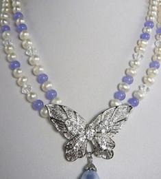 Lila jade perlenkette online-Halskette 2 Reihen White Pearl Purple Jade 18KWGP Kristall Schmetterling Anhänger Halskette