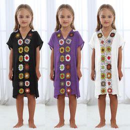 Crianças, crianças, swimsuit on-line-Criança de flor As crianças dreess crochet Pareo Praia Swimsuit Beachwear Coverup camisa dos miúdos encobrir e Túnicas Vestidos Coverups LJJA2591