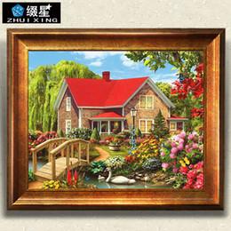 2020 pintando la casa del lago Nueva DIY 5D diamante Pintura Red House Swan Lake escénica del bordado de la plaza del diamante lleno de punto de cruz del Rhinestone del mosaico pintando la casa del lago baratos