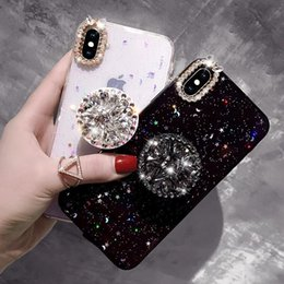 Canada De luxe Diamant Anneau Peau Paillette Effacer TPU Cas Bling Bling Brillant Couverture De Porte-clés En Strass Pour iPhone 7 8 PLUS XR X MAX cheap iphone skin rhinestones Offre