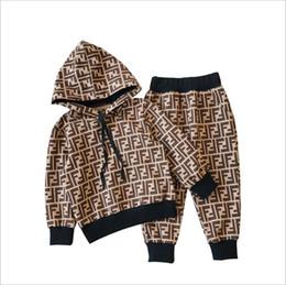 ropa de hip hop para niños al por mayor Rebajas 2019 nueva marca para niños sudaderas con capucha y pantalones trajes de algodón para niños bebés de los niños traje de otoño bebé traje deportivo 2 / set