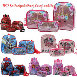 saco animal do almoço dos miúdos Desconto Kid Meninas 3Pcs Set Backpack Unicorn Avengers Sofia LOL Ice Dog Escola Car Lunch Bag Lápis Pen Caso Mochila Bookbag Para o estudante primário