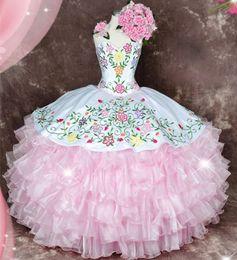 vestidos de quinceañera cor rosa Desconto Sweety rosa querida multi cor bordado quinceanera vestidos babados organza doce 16 vestidos puffy quinceanera vestido de baile