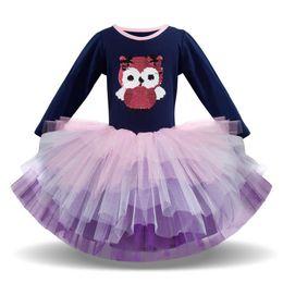 9cc2b12ad Girls Dresses Spring Autumn Cartoon cute Princess Dresses sequin long  sleeve kids Tutu Dress Girls Party Dresses kids clothes A2835