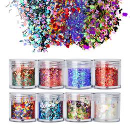 2020 projeto de unhas 3d em pó 8 Pçs / set Colorido Glitter Nails Design Misto 3D Flocos Lantejoulas Aurora Brilhante Polimento Pó Manicure Decor Set desconto projeto de unhas 3d em pó