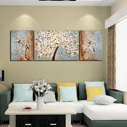 Ölgemälde Wohnkultur billige moderne kunst gemälde Wanddekoration acryl gemälde bäume wandbilder für wohnzimmer 3 stücke von Fabrikanten