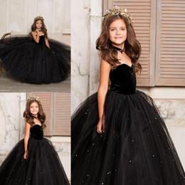 Маленькое черное платье для девочек-малышей онлайн-Little Black Kids Toddler Girls Pageant платье арабского Дубай Sweety Принцесса бальное платье Тюль Новоселье платье девушка цветок Sweetheart