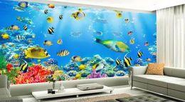 papéis de parede subaquáticos Desconto papel de parede para paredes 3 d para sala de estar Underwater World 3D parede de fundo