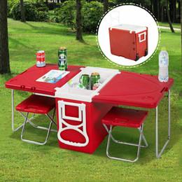 Glacière extérieure roulante en Ligne-Nouveau pique-nique de camping multifonction à roulettes extérieur avec table 2 chaises rouges