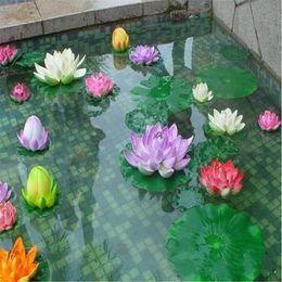 2019 stagno di giglio d'acqua Decorazioni fiori artificiali gomma piuma di EVA Water Lily Lotus Pond Simulazione Waterlily colorato decorazione perfetta Battesimo festa di nozze sconti stagno di giglio d'acqua