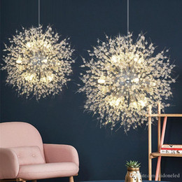 ferro lustre de cristal rústico Desconto Contemporary Firework Lustres Iluminação Pingente de Cristal Luz Dandelion Lâmpada de suspensão para o Quarto Cozinha Sala de jantar Iluminação Interior