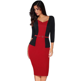 curved lines dress Promo Codes - 2019 New Classic Two-piece Professional Women's Large Size Sexy Bag Hip Pencil Dress Highlights The Beautiful Curve with The Belt