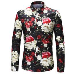 Floral Imprimir Camisa Homem Novo Design Blusa de Manga Longa Casuais Camisas Masculinas Magro Chemise Homme Uomo Hemden Flor Blusas supplier printed casual blouse design de Fornecedores de desenho de blusa casual impresso