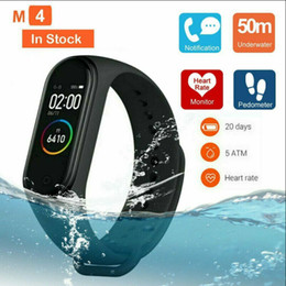 Android rastreador de fitness online-M4 Smart Band 4 Ritmo cardíaco real Pulseras de la presión arterial Deporte SmartWatch Monitor Monitor Health Fitness Tracker Smart Watch Pulsera PK M3