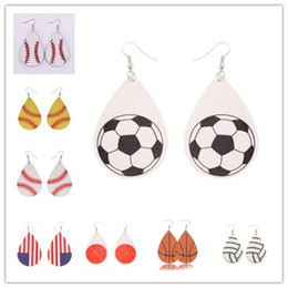 Nouveau Softball Cuir Boucles D'Oreilles En Forme De Boule Douce Baseball Football Volley Ball Feuille De Cuir En Cuir Boucles D'oreilles En Oreille Drop ? partir de fabricateur