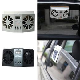 Ventilador de alta potencia online-Ventilador de escape accionado por energía solar para el automóvil Ventilador de enfriador de auto Ventilador de ventilación de modo dual Alta potencia 2 colores