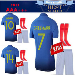 5168c281a61 1919 2019 Two stars 2 GRIEZMANN MBAPPE Kids kits 2019 2020 France soccer  jersey boys child Centenary POGBA football shirt maillot de foot