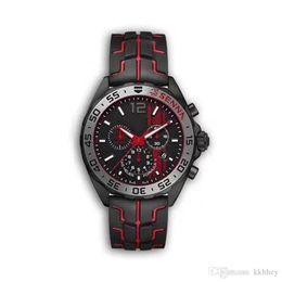 F1 черные наручные часы онлайн-НОВЫЕ роскошные мужские часы черный стальной корпус резиновый ремешок F1 гоночные часы спортивные кварцевые Многофункциональный календарь с хронографом Наручные часы Montre