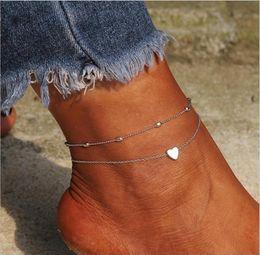2019 любители ножного браслета Ножной браслет набор 2 шт. / пакет сердце Шарм бисера цепи золото и серебро покрытием металлической цепи женщин ножной браслет подарок