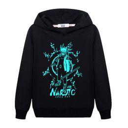 2020 hoodies noirs pour les enfants Hokage Ninjia teen boy Black Sweatshirt lumineux enfants plus pull en coton velours à capuche Naruto mantil pull juvénile juvénile promotion hoodies noirs pour les enfants