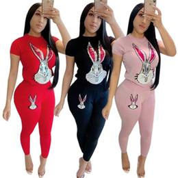 Treinadores de treino de lantejoulas on-line-Mulheres Lantejoulas Sportswear T-shirt + Leggings Duas Peças Set Tee de Manga Curta Top Bodycon Calça Treino Outfits Roupas de Verão S-2XL 756