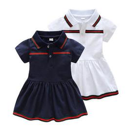 Vestidos de tutú verde online-Diseñador de bebés vestidos de manga corta camisas de los niños de moda vestido de niña para niñas rayas verdes niños ropa vestido causal