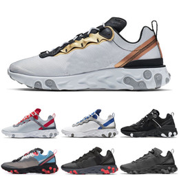 gold elements Promo Codes - Triple black React Element 55 87 men women running shoes Metallic Gold SE Taped Seams Royal Tint mens trainers women sports sneakers