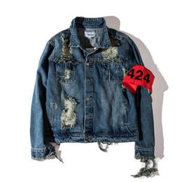 viejas chaquetas de mezclilla Rebajas 424 FourTwoFour lavada gira el collar abajo Streetwear Hold Denim Jacket rasgado Antiguo cremallera Denim chaqueta de los hombres de 2 colores