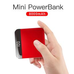 Mini portable iphone externe aufladeeinheit online-Tragbare Travelcool 8000mAh eingebaute Mini Power Bank Kabel dünne externe Batterie Powerbank tragbares Ladegerät für iPhone Samsung Xiaomi
