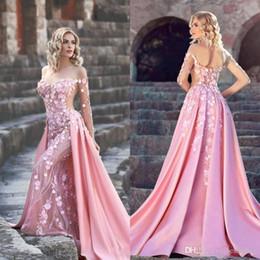porter sur la robe Promotion 2019 rose fleurs sirène robes De Bal Longue balayage Train Sur Jupe Soirée Formelle Porter Des Robes Plus La Taille Pageant Robes BC1520