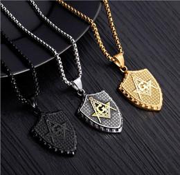 2019 colgantes masónicos de oro Joyas Hip Hop Punk Masonic Colgantes Collares - Oro Plata Balck Titanio Acero Escudo Collar Masonería Lujo Diseñador Hombres Collar rebajas colgantes masónicos de oro